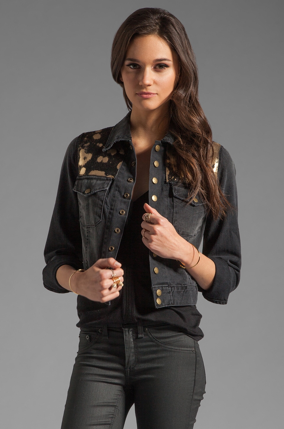 Current/Elliott The Snap Jacket in Night w/ Spotted Metallic Ponyhair