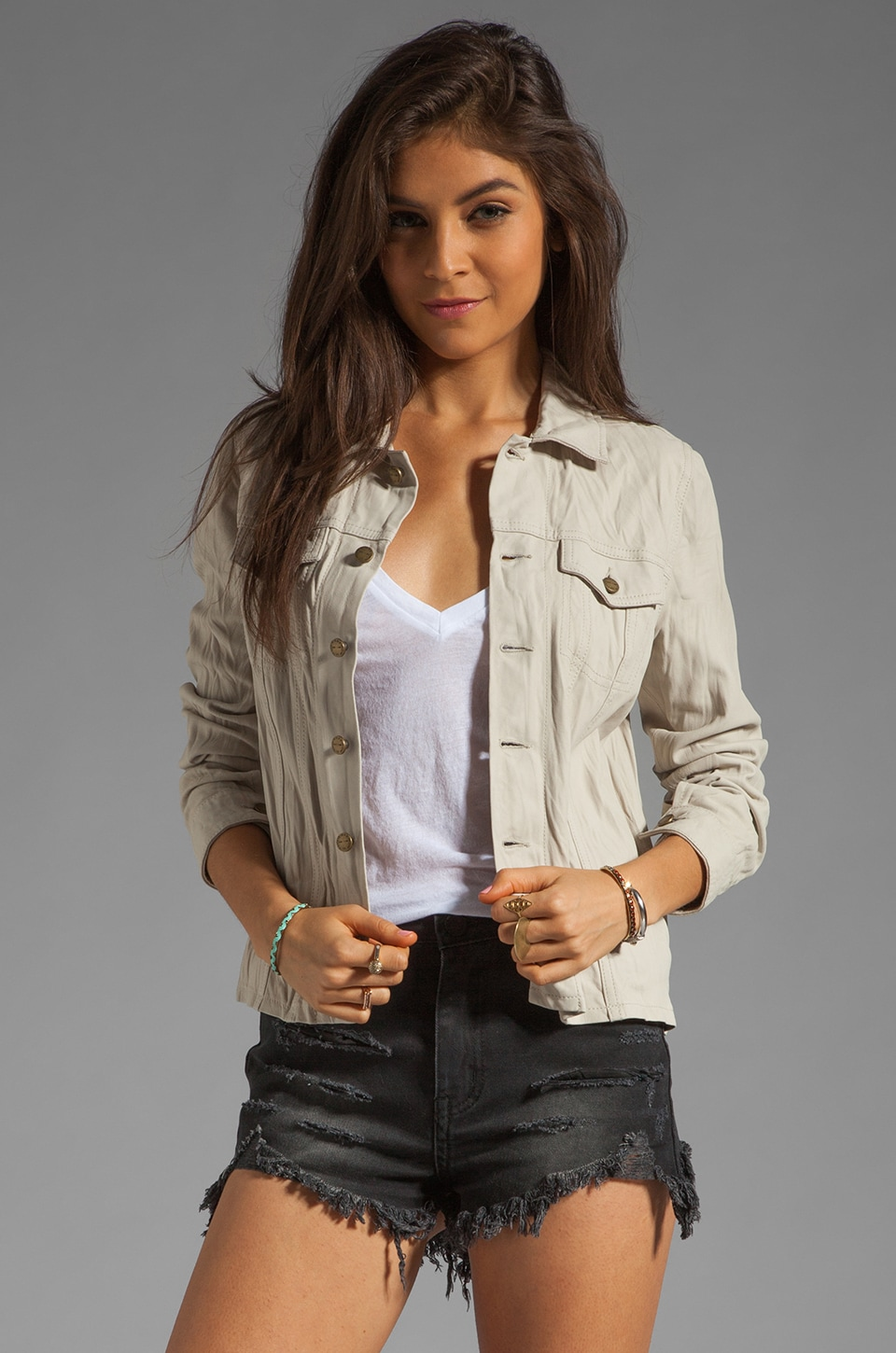 Current/Elliott The Mechanic Leather Jacket in Light Safari