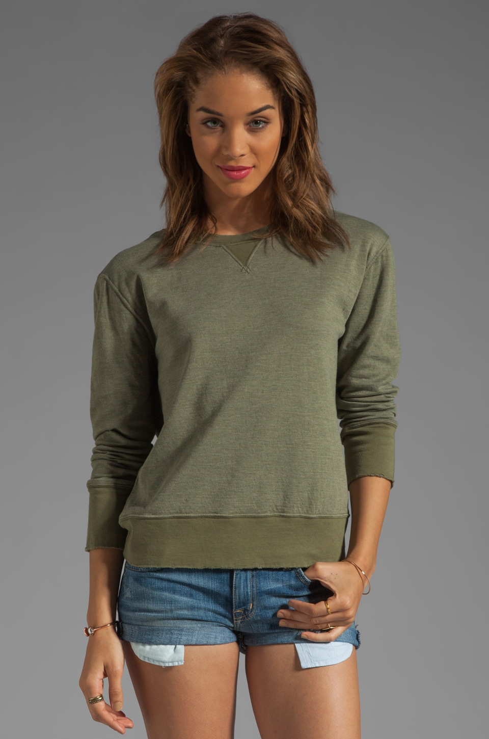 Current/Elliott The Stadium Sweatshirt in Army Green