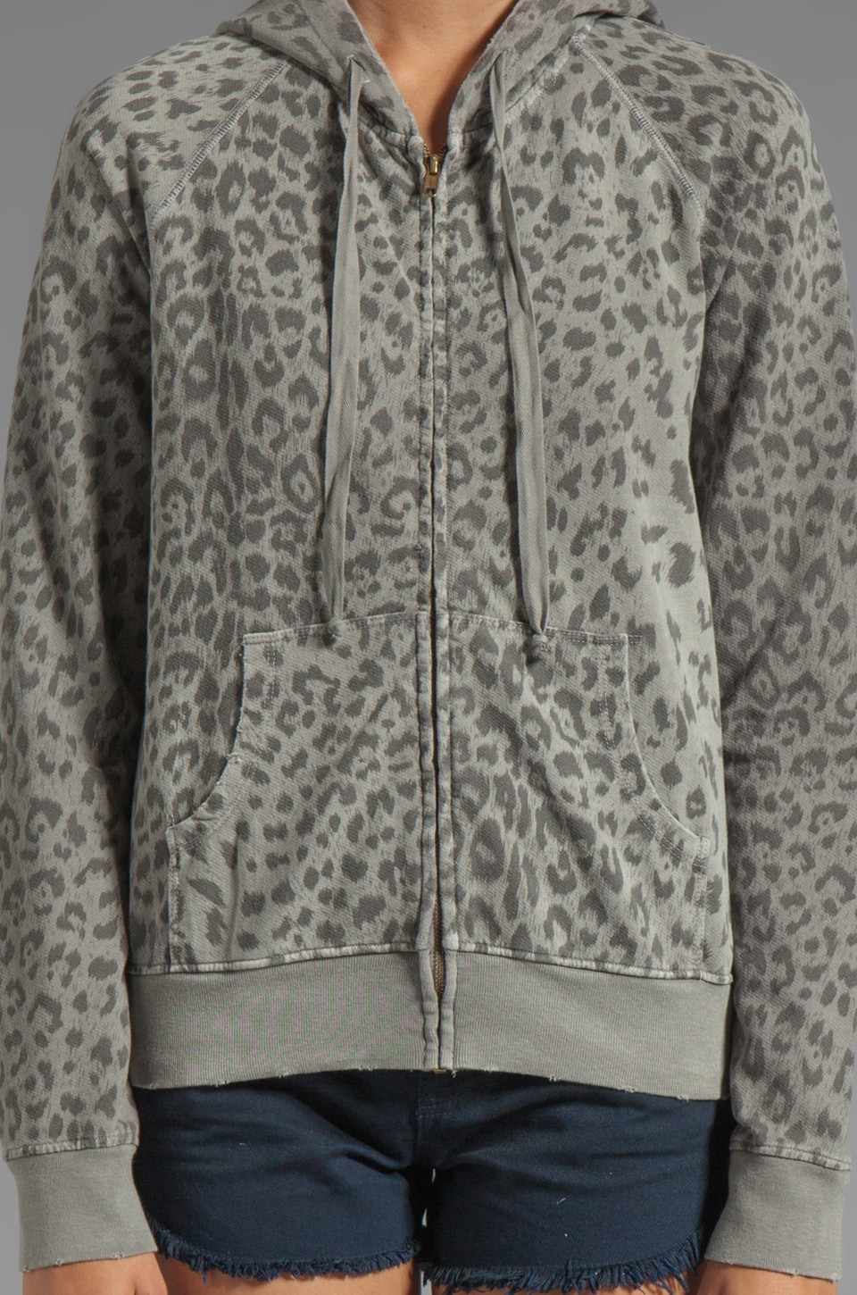 Current/Elliott Hoodie in Grey Leopard