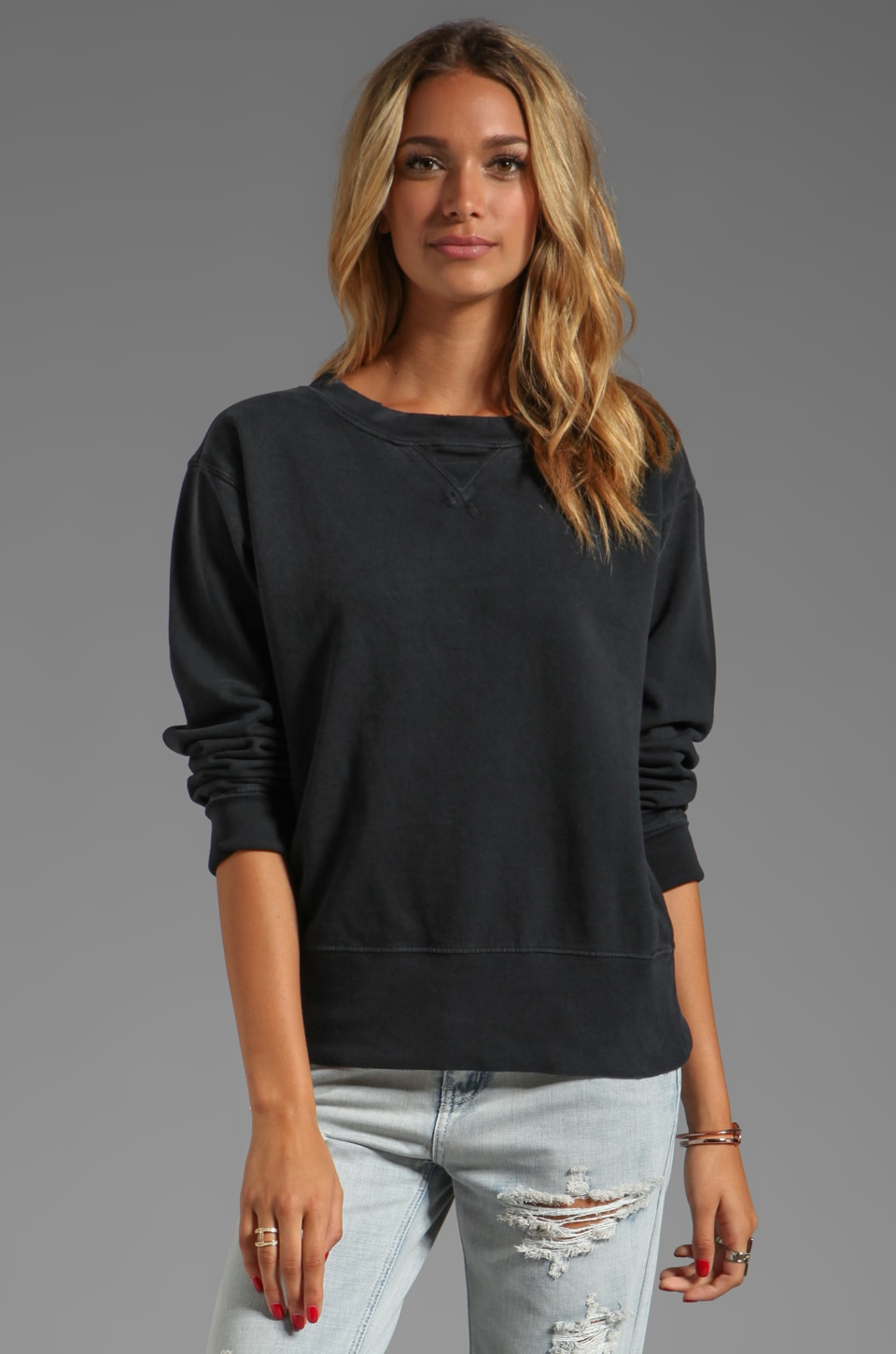 Current/Elliott The Stadium Sweatshirt in Black Beauty