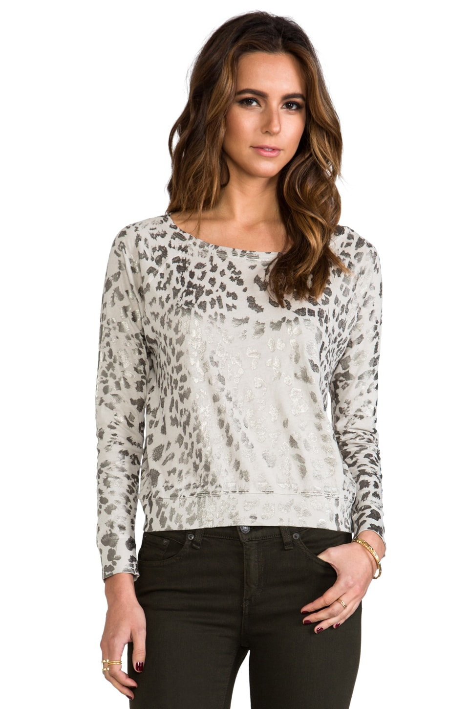 Current/Elliott The Letterman Sweatshirt in Light Grey Metallic Leopard