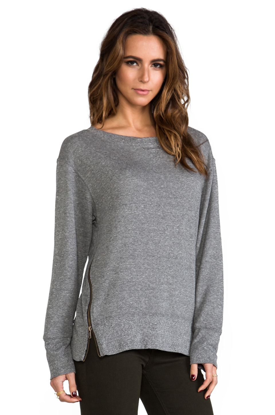 Current/Elliott The Stadium w/ Zips Sweatshirt in Heather Grey