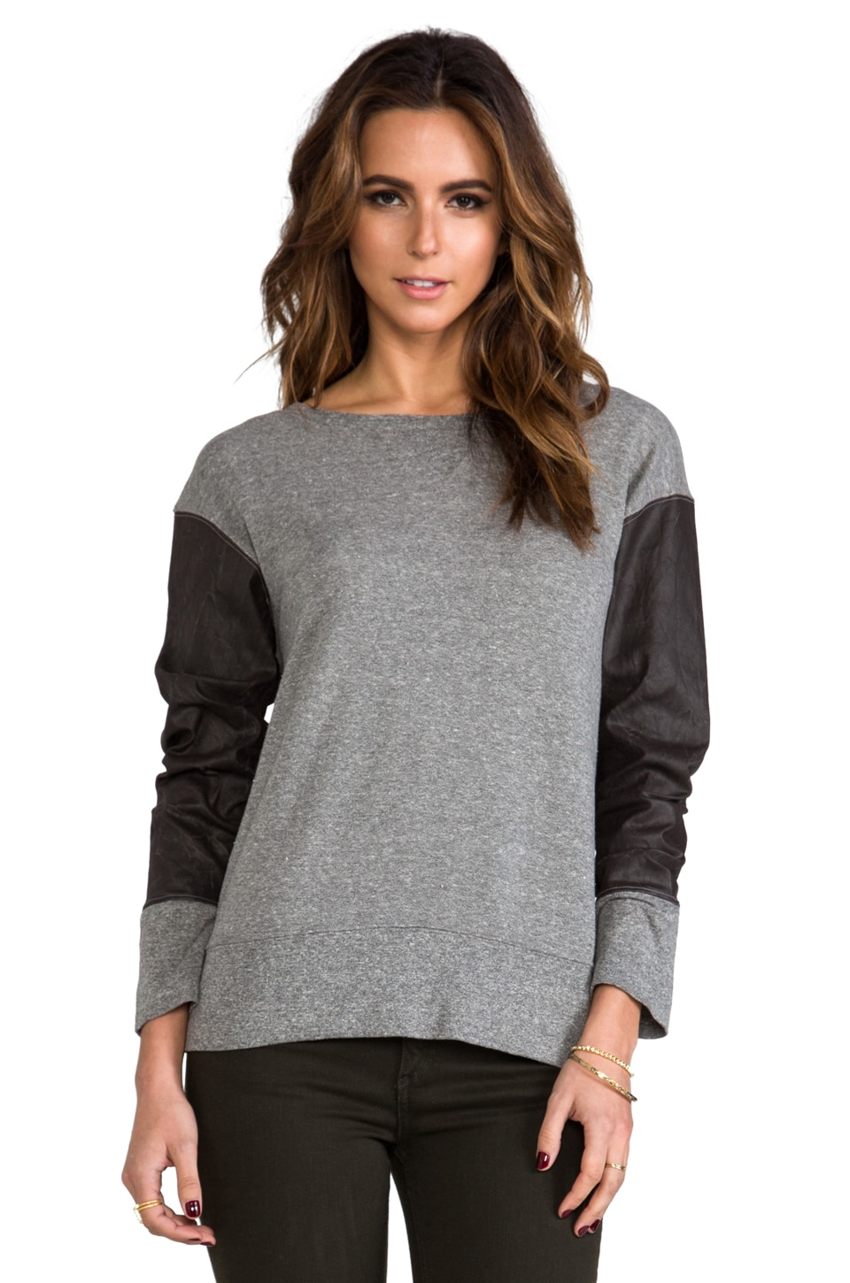 Current/Elliott The Stadium Sweatshirt in Heather Grey w/ Coated Sleeves