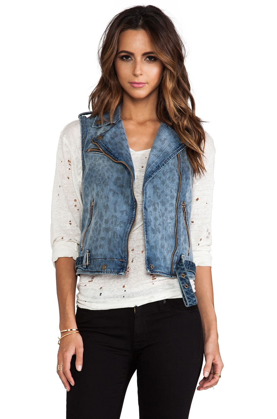Current/Elliott Blouson Motard sans manches en Denim Leopard Destroy