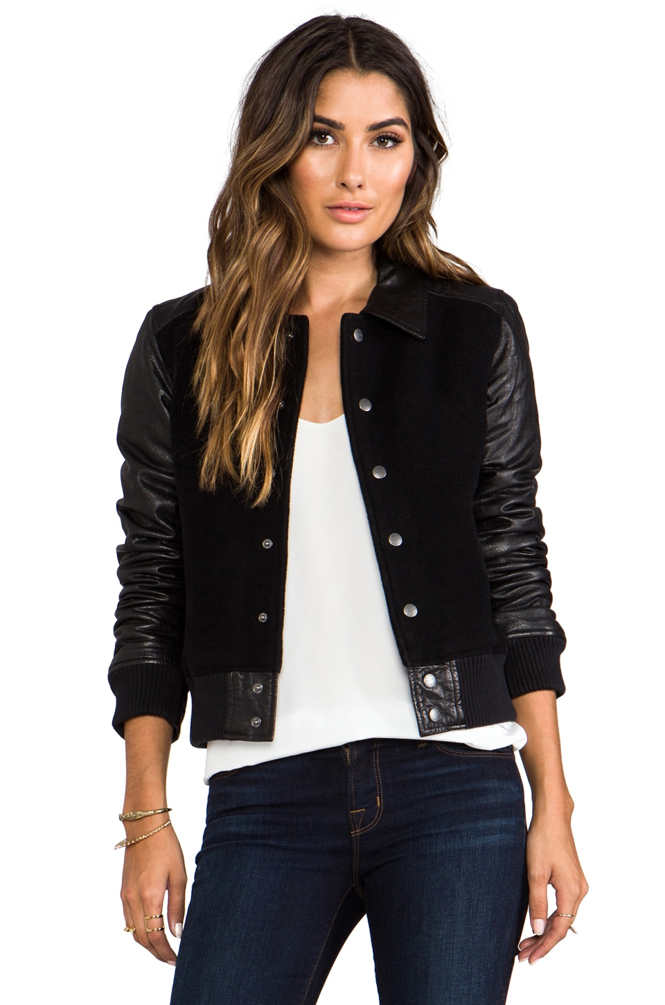 Current/Elliott The Varsity Jacket in Black