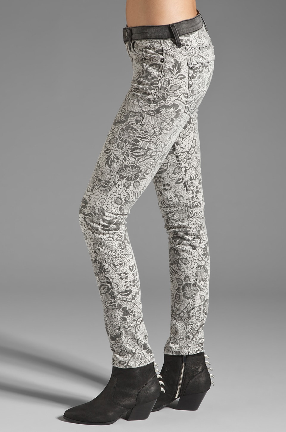 Current/Elliott The Ankle Skinny in Light Grey Lace