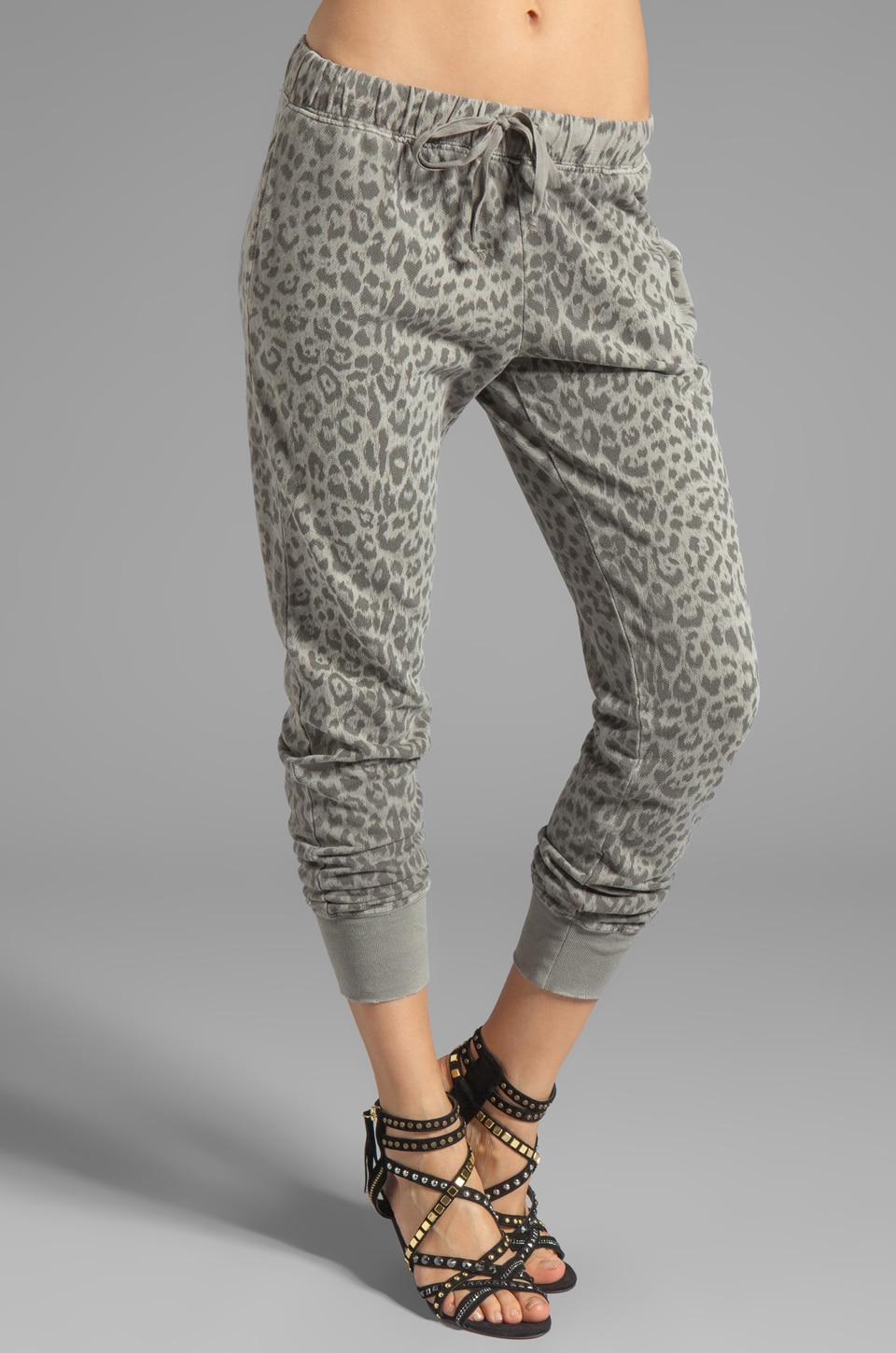 Current/Elliott Banded Bottom Sweat Pant in Grey Leopard