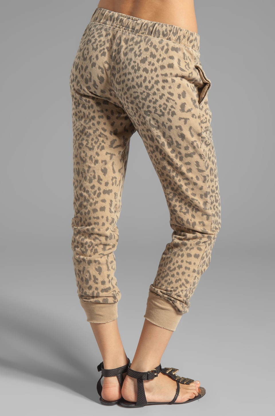 Current/Elliott Banded Bottom Sweat Pant in Camel Leopard