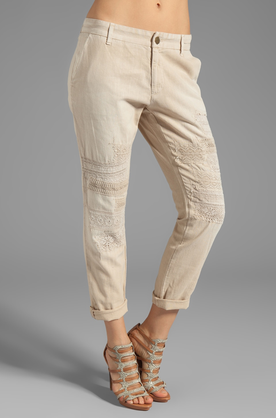 Current/Elliott The Buddy trouser in Safari w/Lace