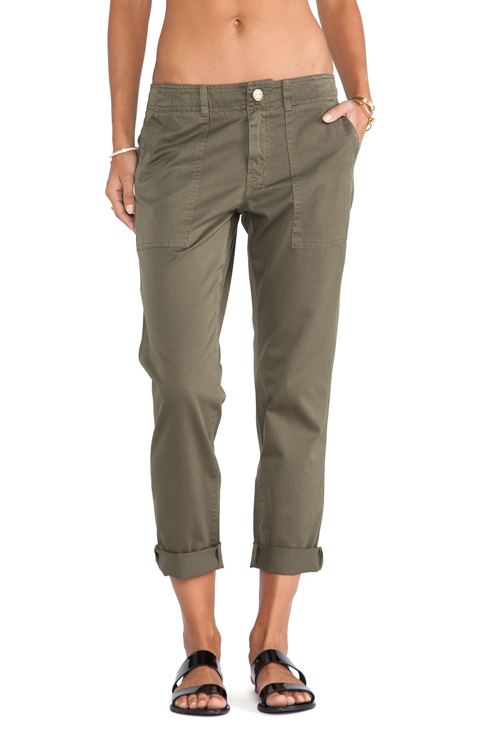 Current/Elliott The Army Buddy Trouser in Army Green