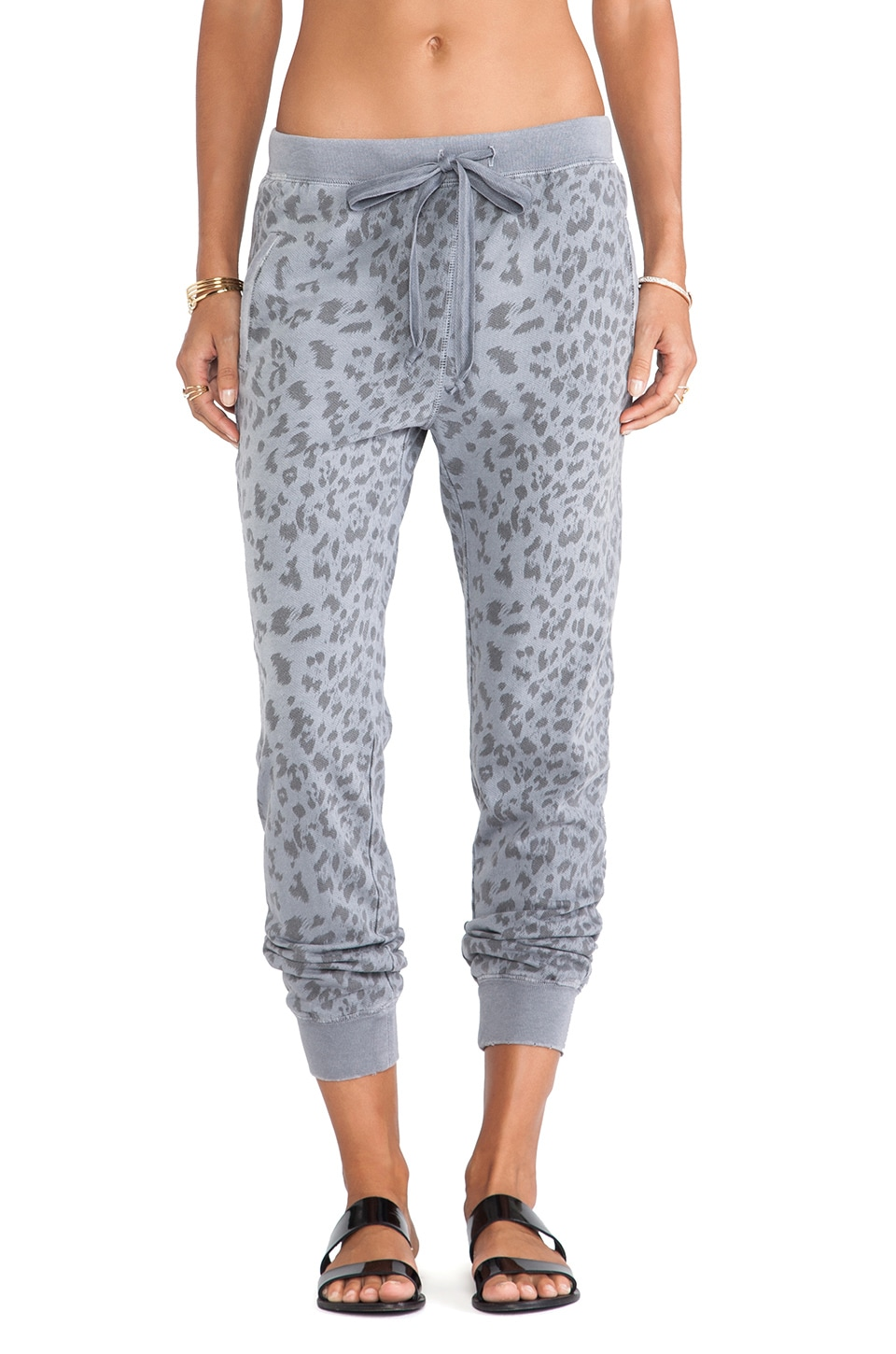 Current/Elliott The Slim Vintage Sweatpant in Washed Black Leopard