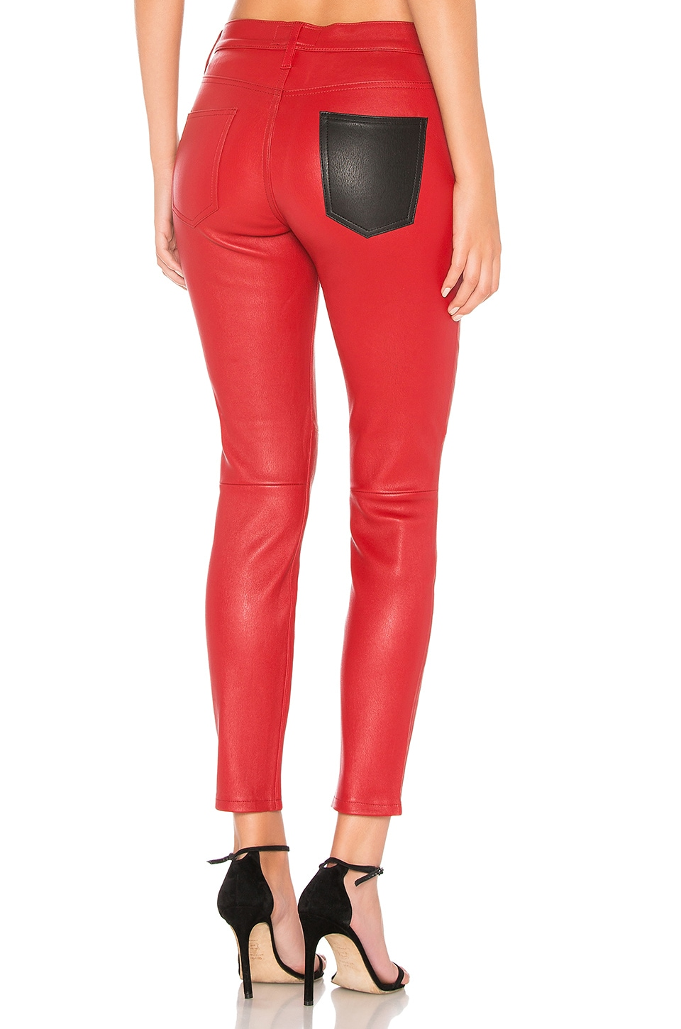 Current/Elliott The Stiletto Leather Skinny Jeans In Haute Red from CURRENT/ELLIOTT