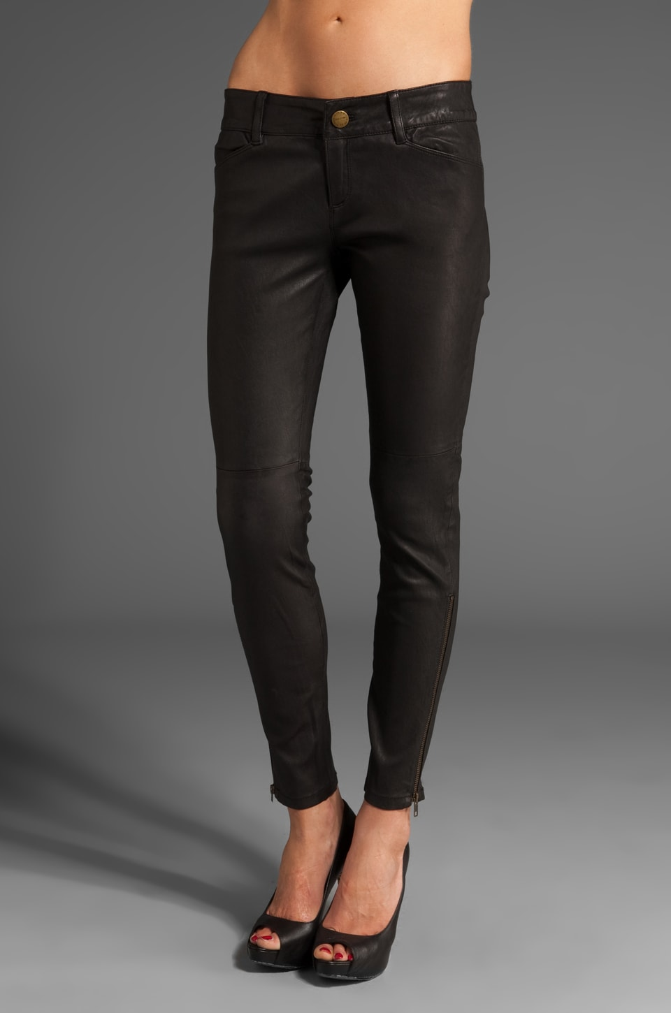 Current/Elliott Leather Legging in Washed Black