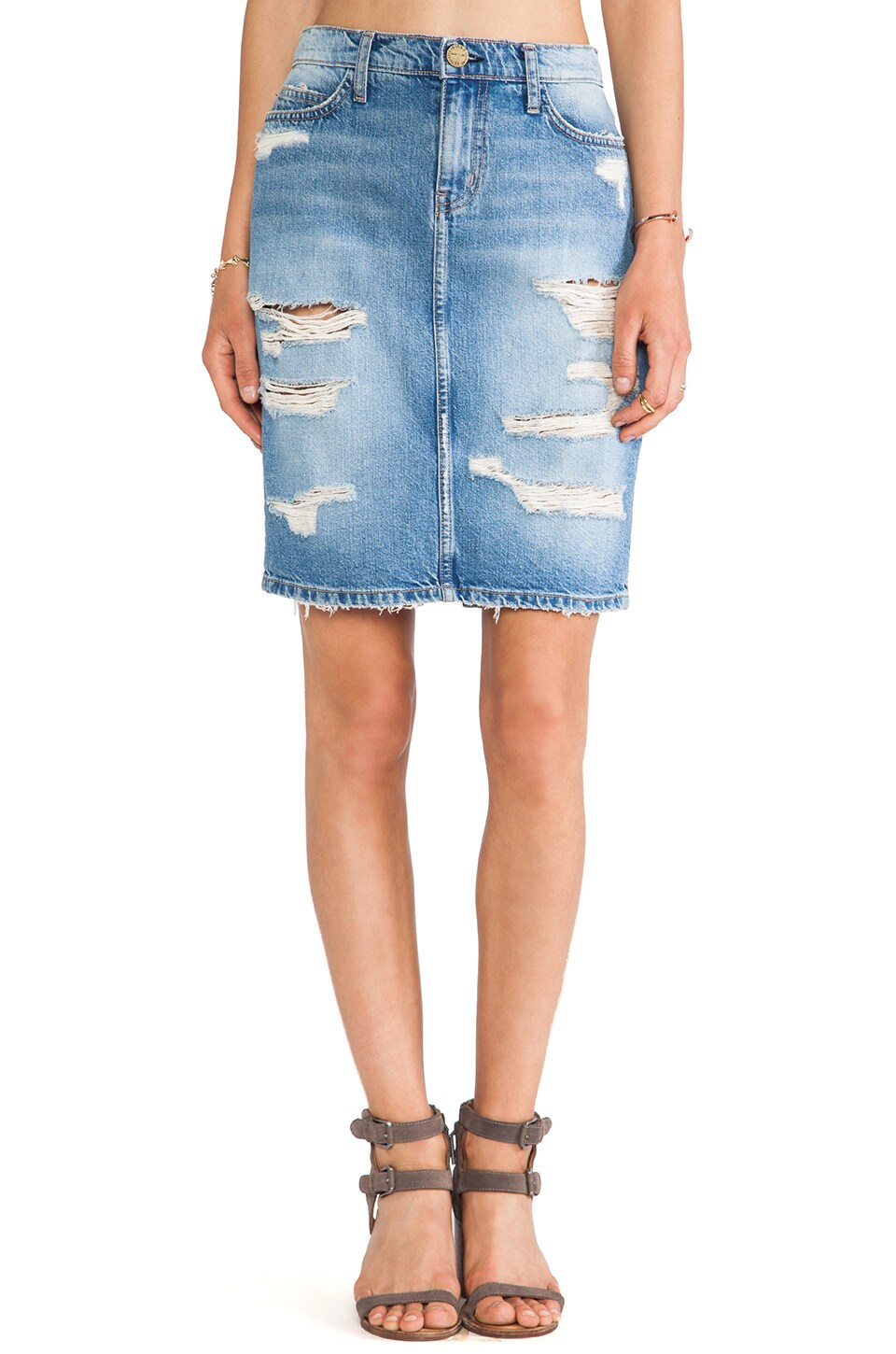 Current/Elliott The Stiletto Pencil Skirt in Tattered Destroy