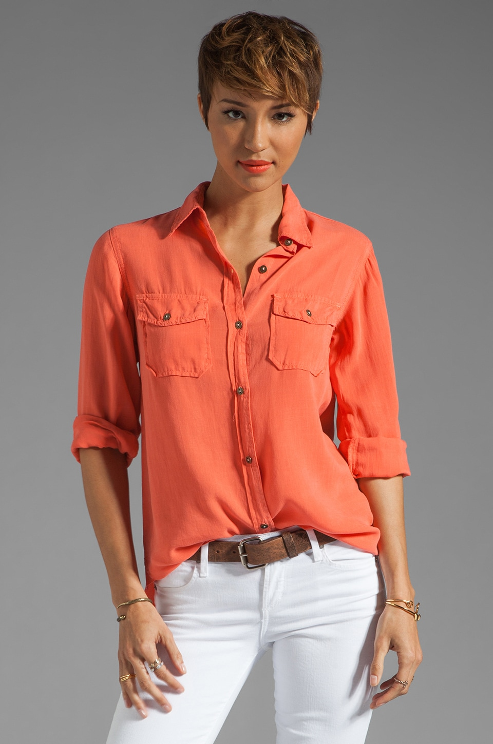 Current/Elliott The Perfect Shirt in Bright Coral