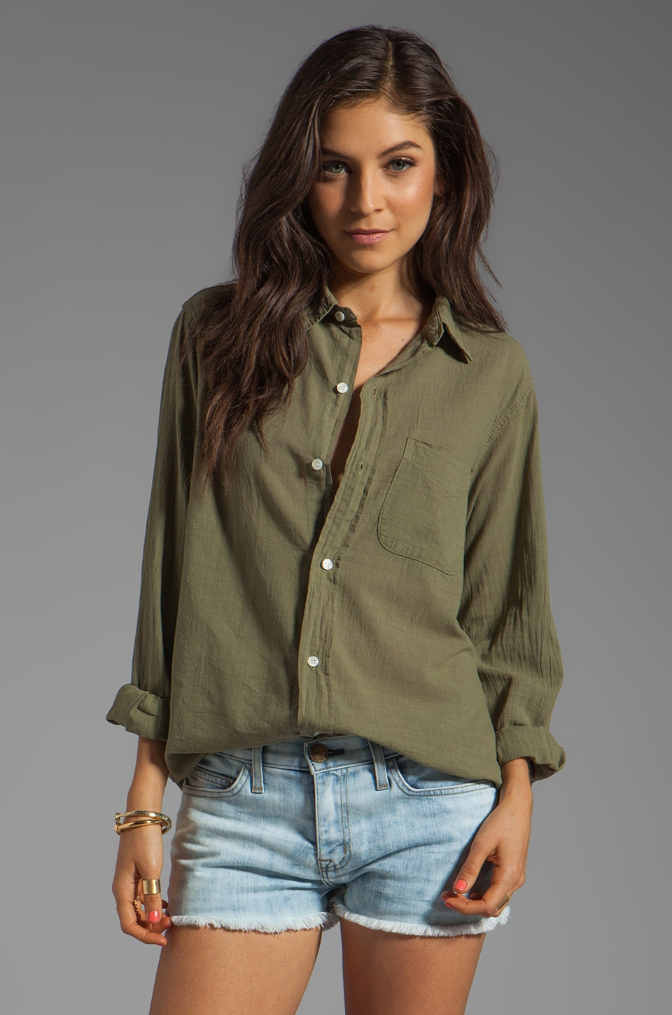 Current/Elliott The Prep School Shirt in Army Green
