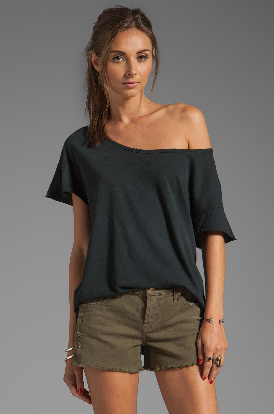 Current/Elliott The Oversize Tee in Black Beauty