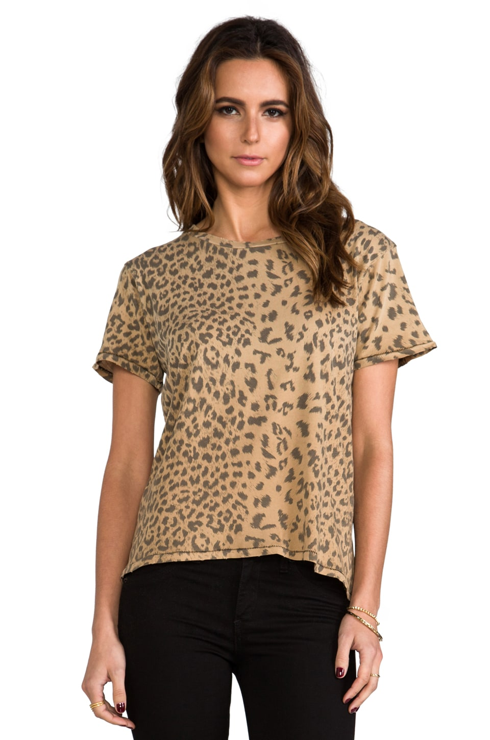 Current/Elliott The Freshman Tee in Camel Leopard