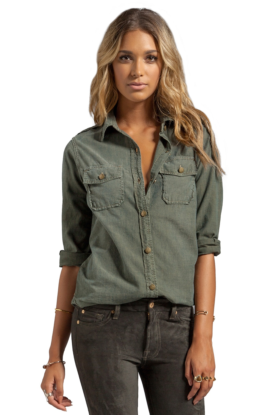Current/Elliott The Perfect Shirt in Army Green