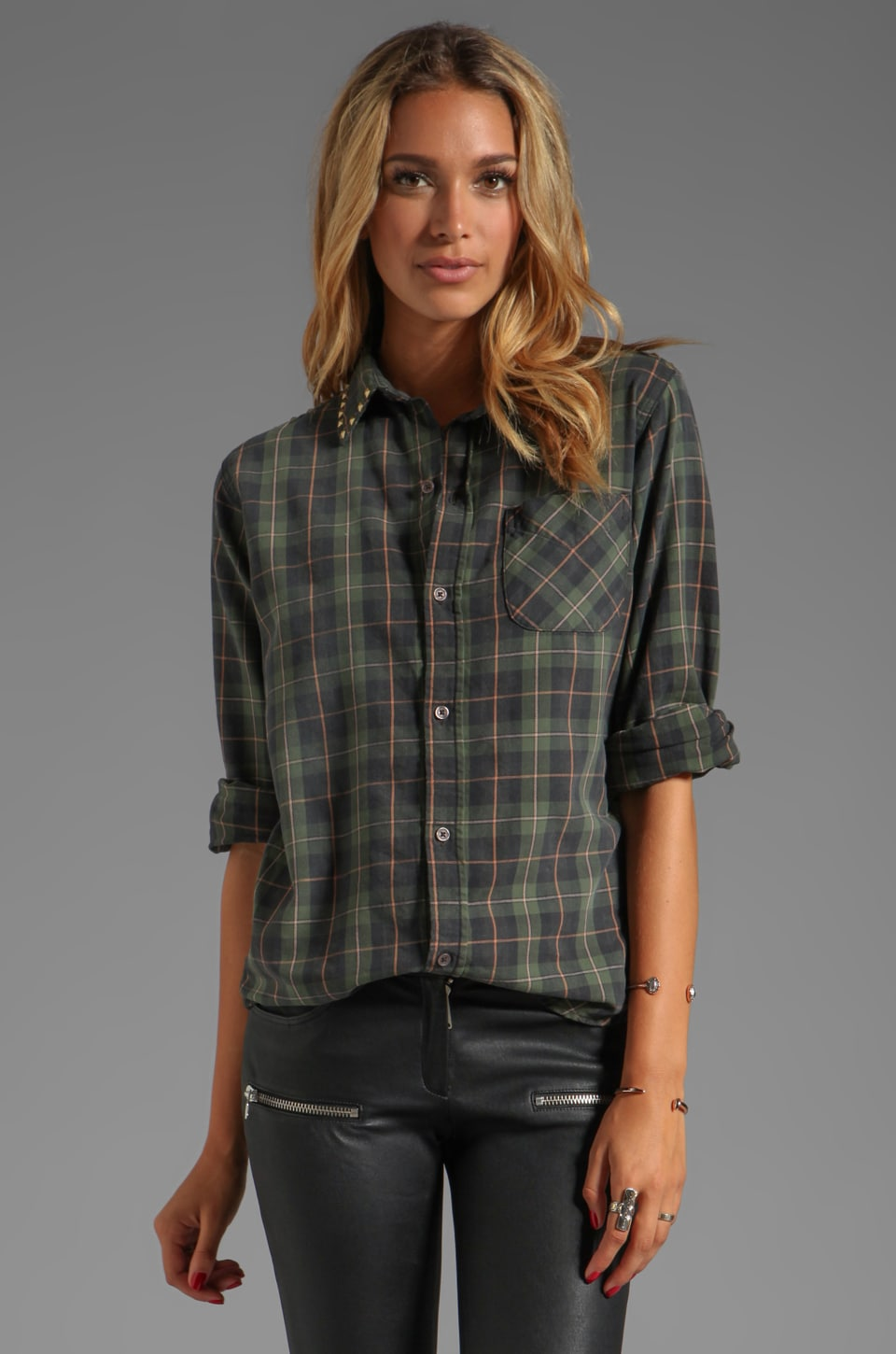 Current/Elliott The Prep School Shirt in Forge Plaid w/ Studs
