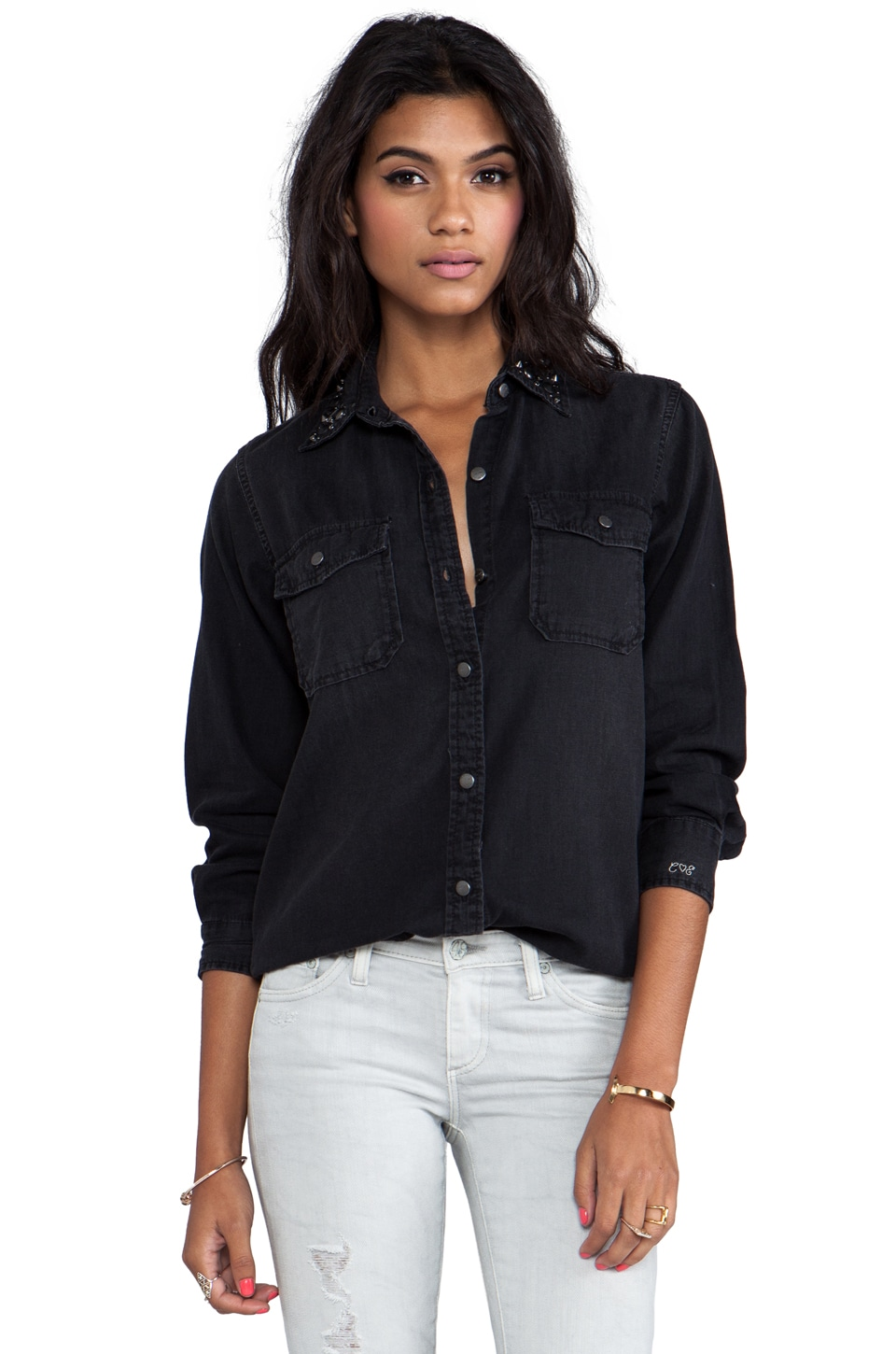 Current/Elliott The Perfect Shirt in Black with Jet