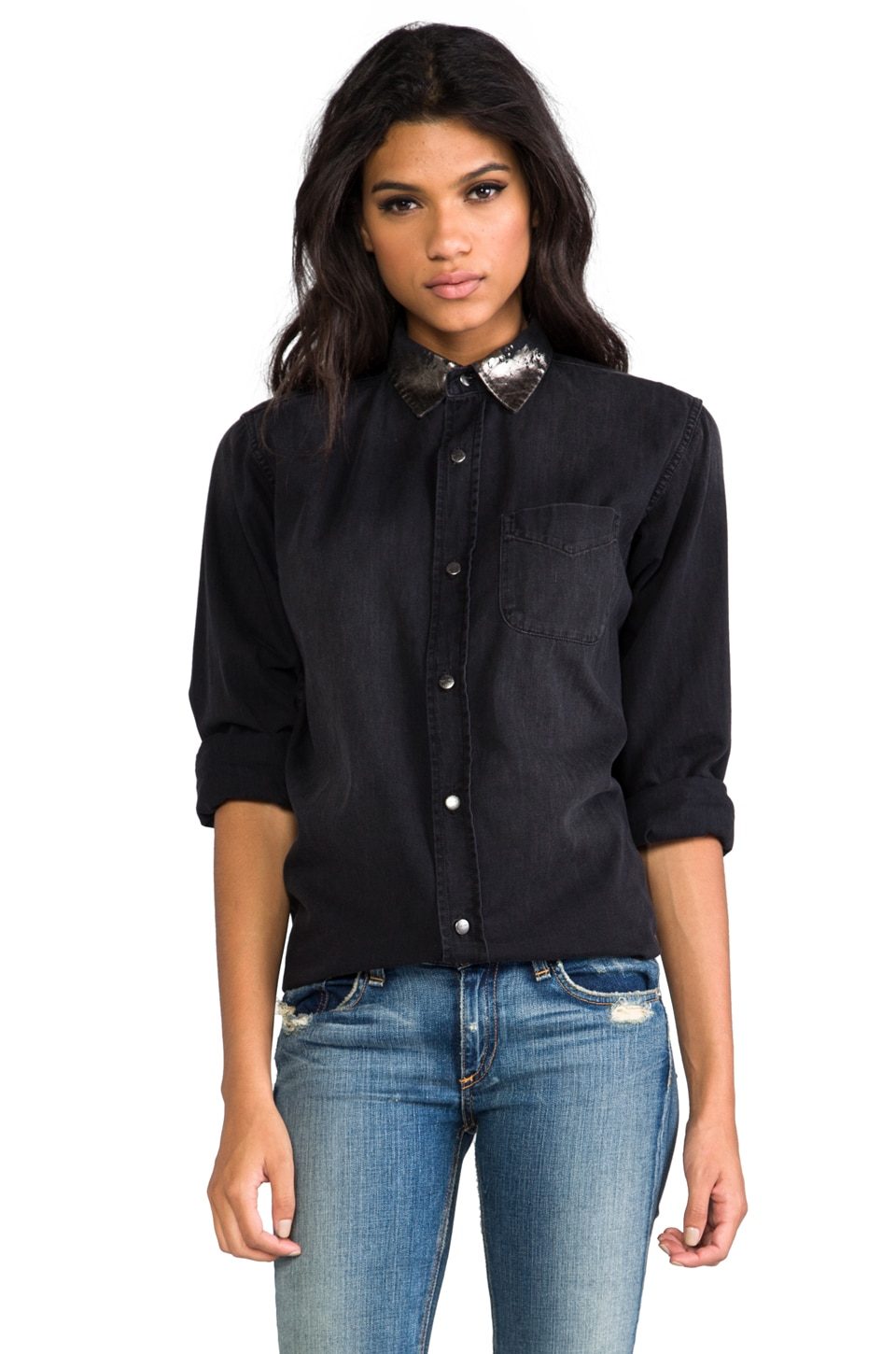 Current/Elliott The Prep School Shirt in Black