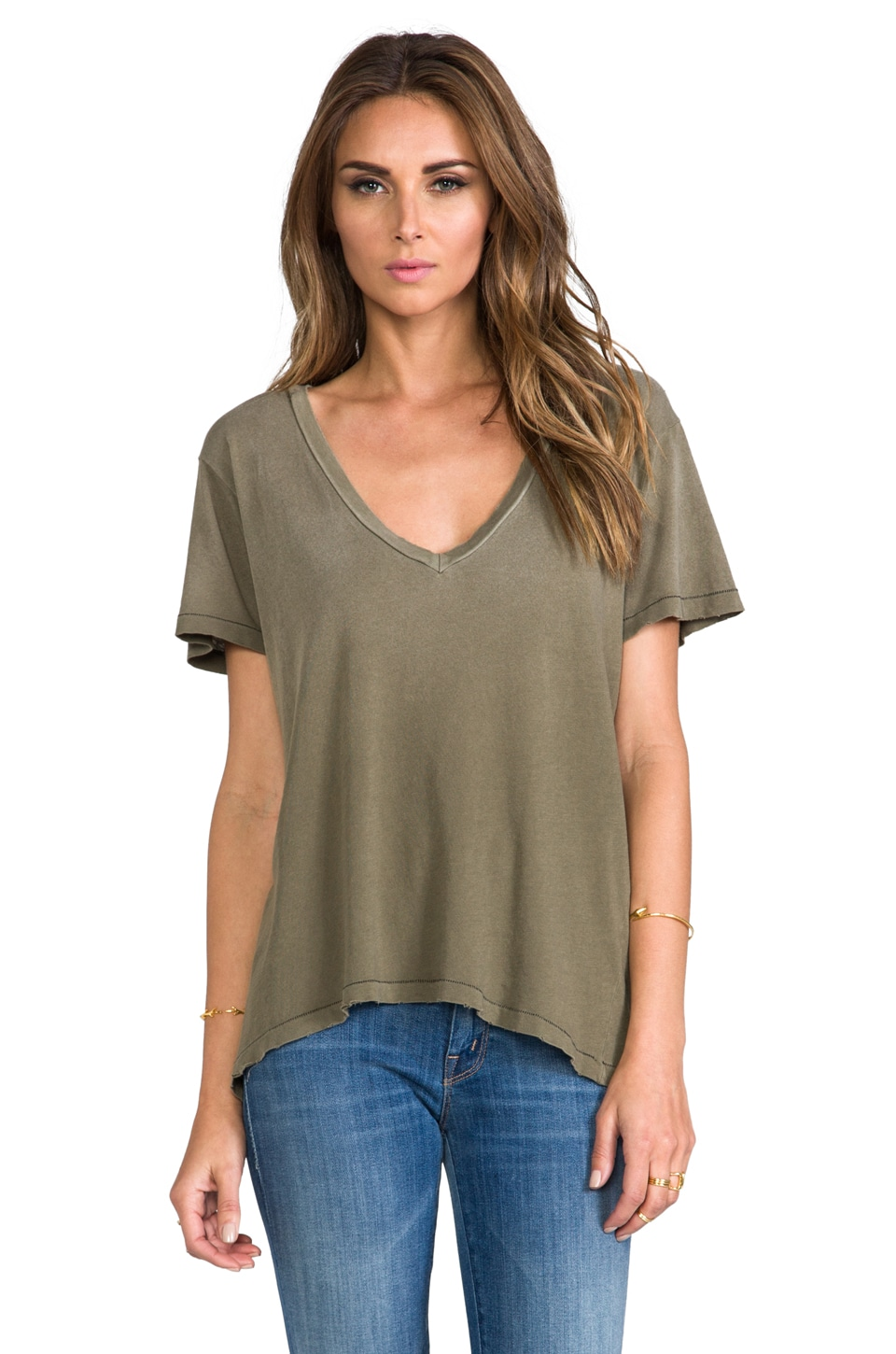 Current/Elliott The V Neck in Army Green