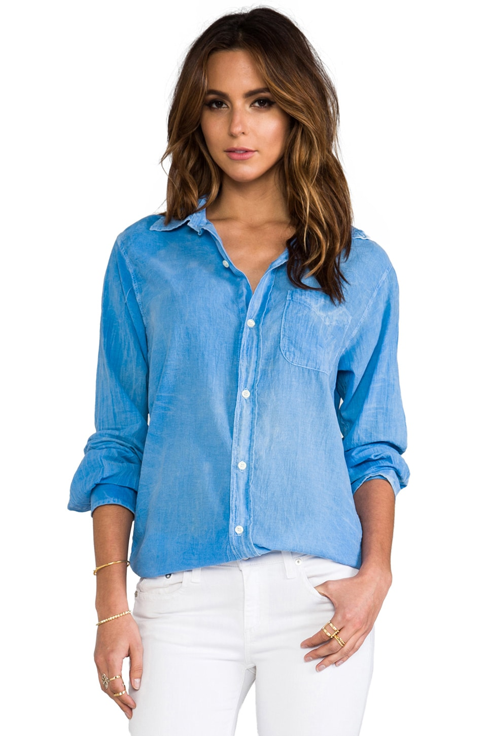 Current/Elliott The Prep School Shirt in Light Blue