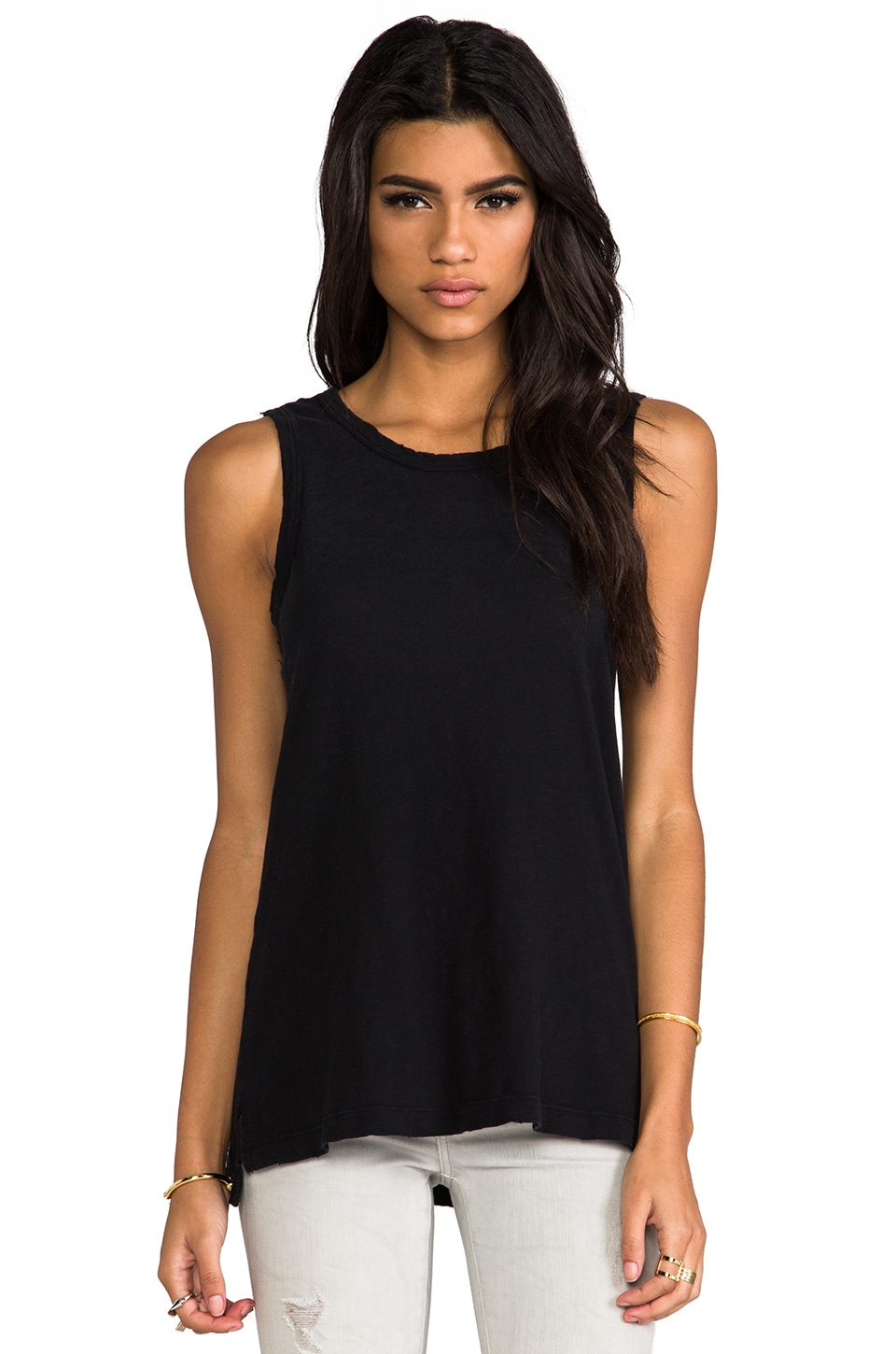 Current/Elliott The Muscle Tank in Black Beauty