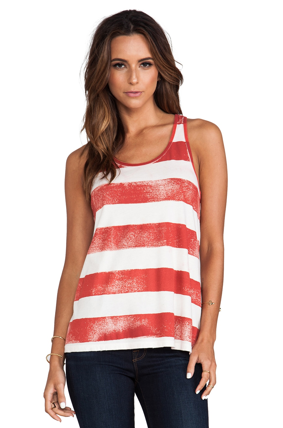 Current/Elliott The Athletic Tank in Scarlet Stripe
