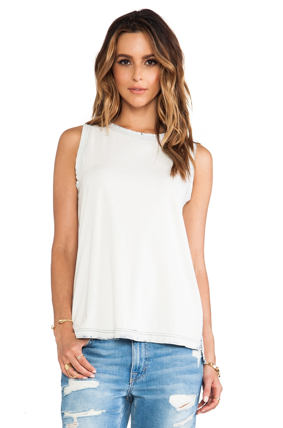 Current/Elliott The Muscle Tee in White Wash