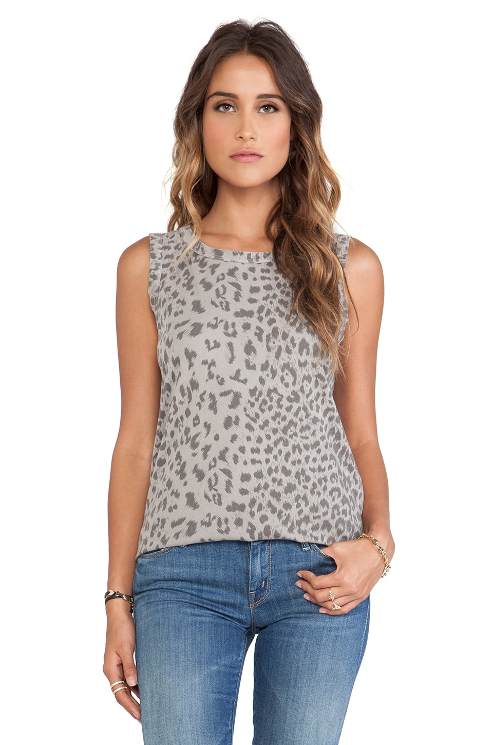 Current/Elliott The Muscle Tee in Grey Leopard