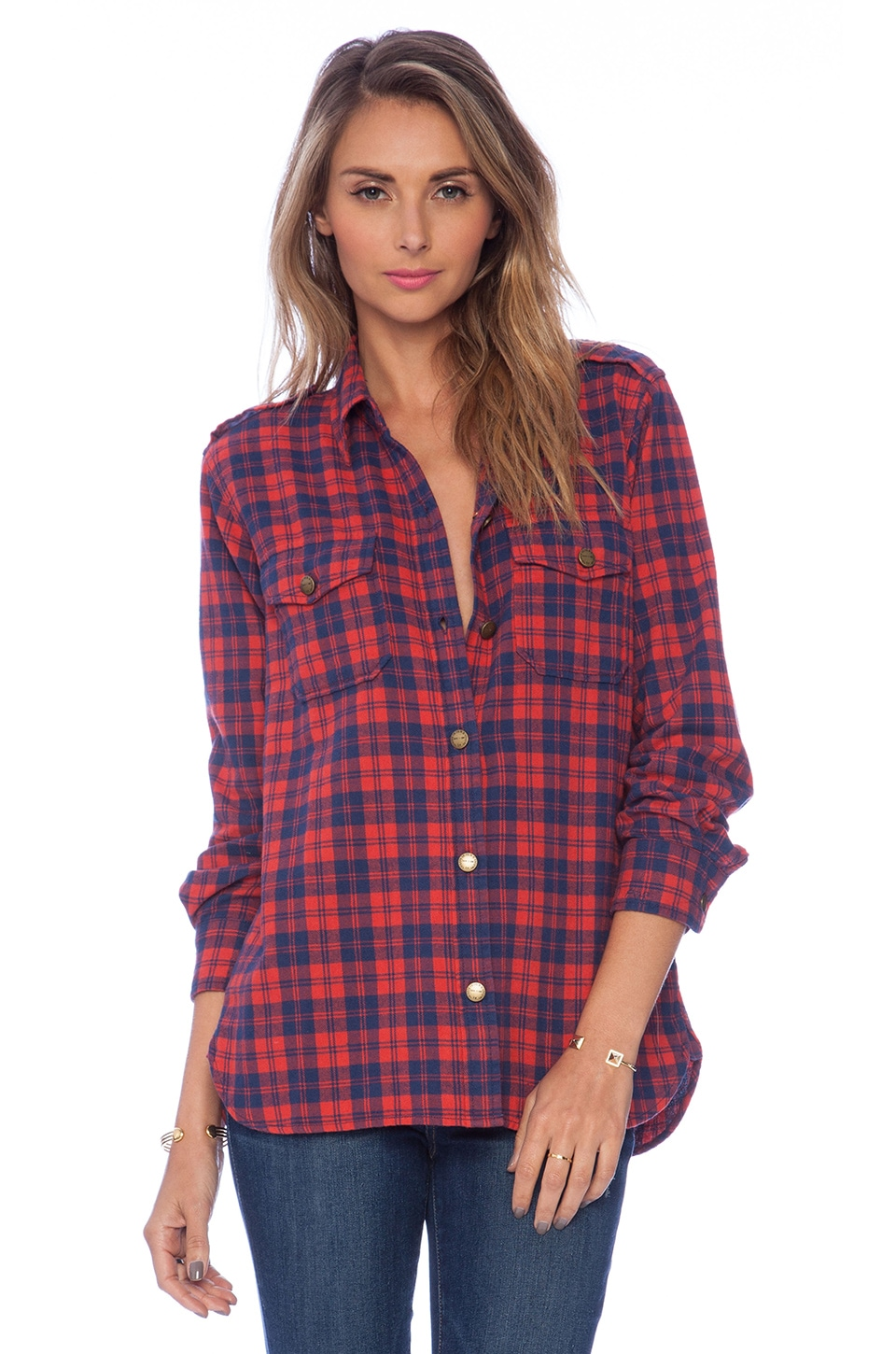 Current/Elliott The Perfect Shirt in Freight Plaid