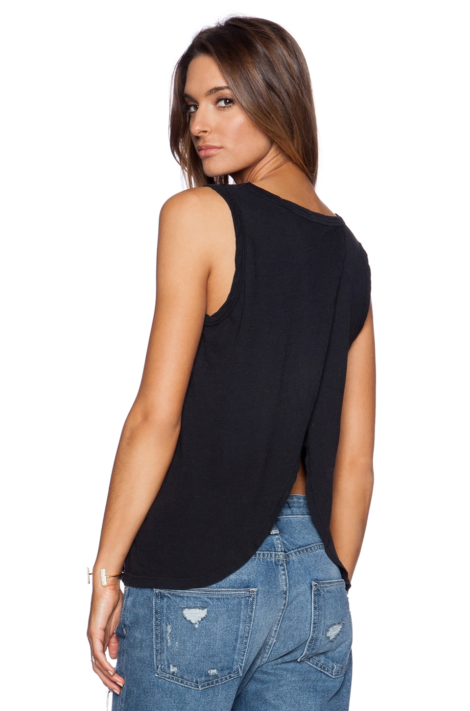 Current/Elliott The Cross Back Muscle Tee in Black