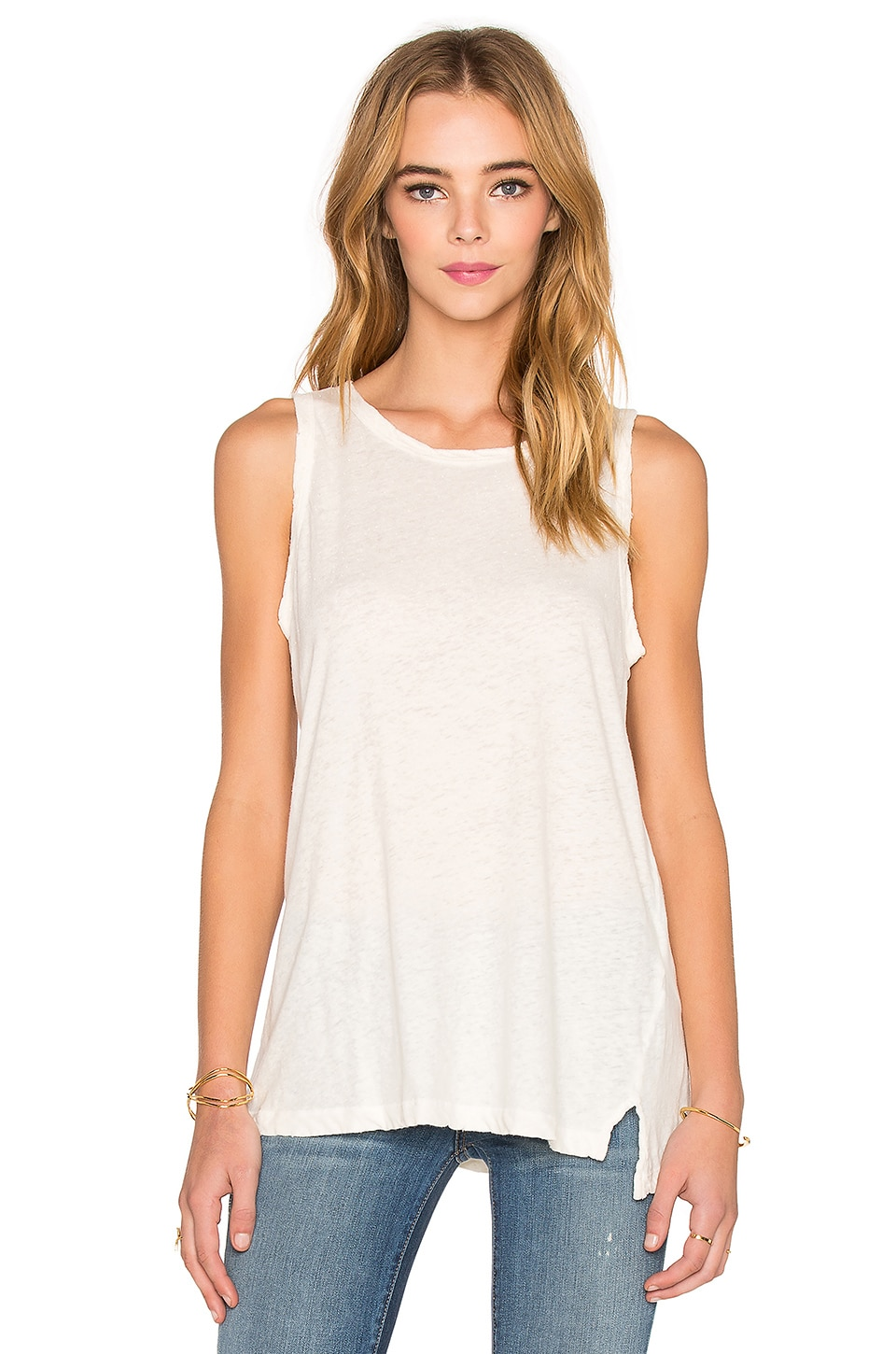 Current/Elliott The Muscle Tank in Dirty White