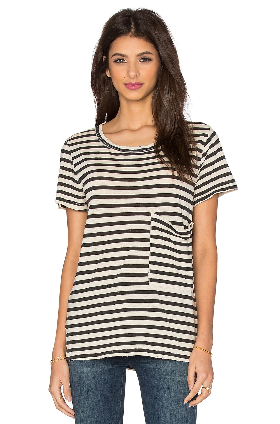 Current/Elliott The Long Pocket Tee in Cream & Black Distressed Stripe