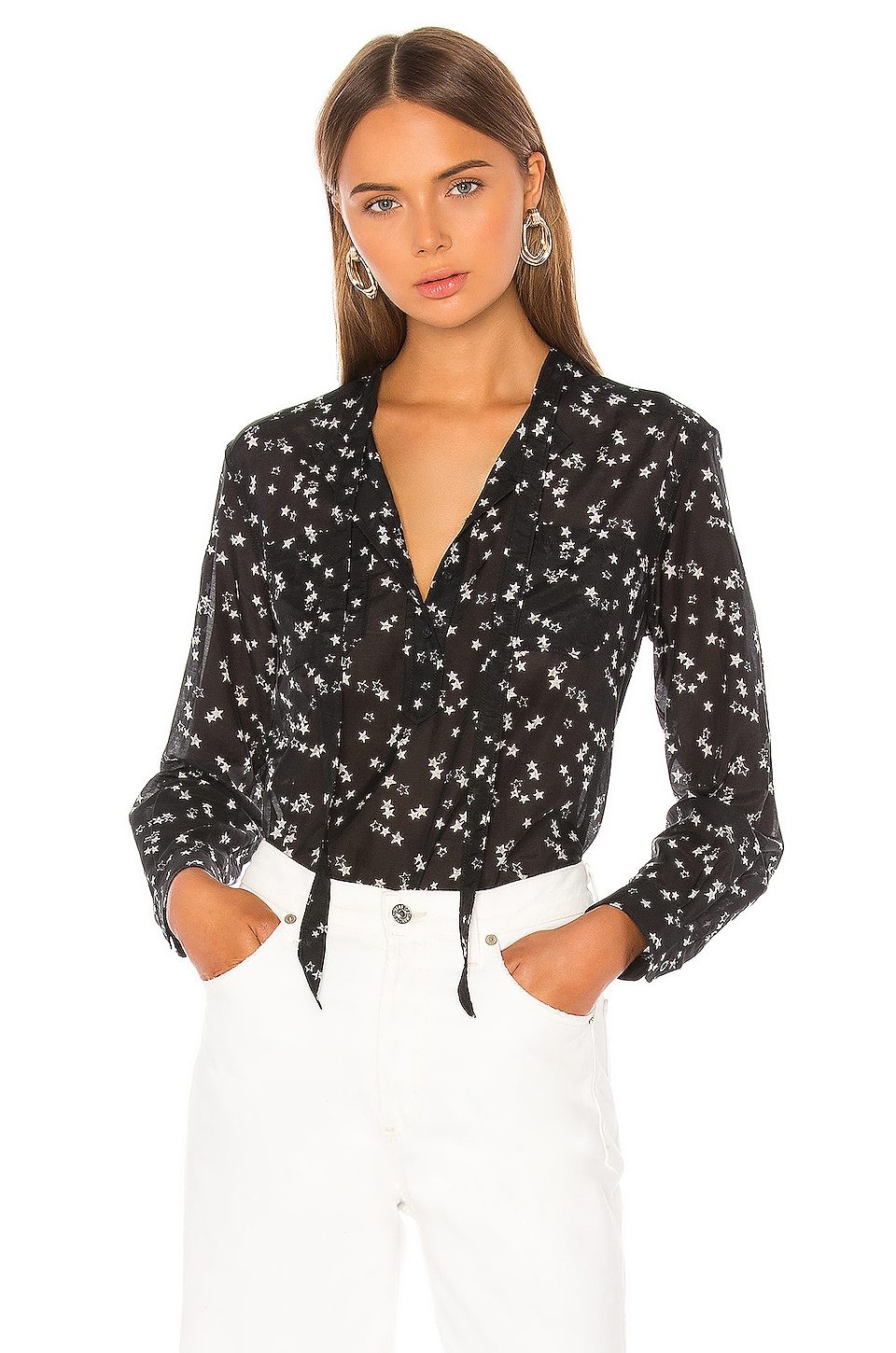 Current/Elliott The Darling Lili Tie Blouse in Star