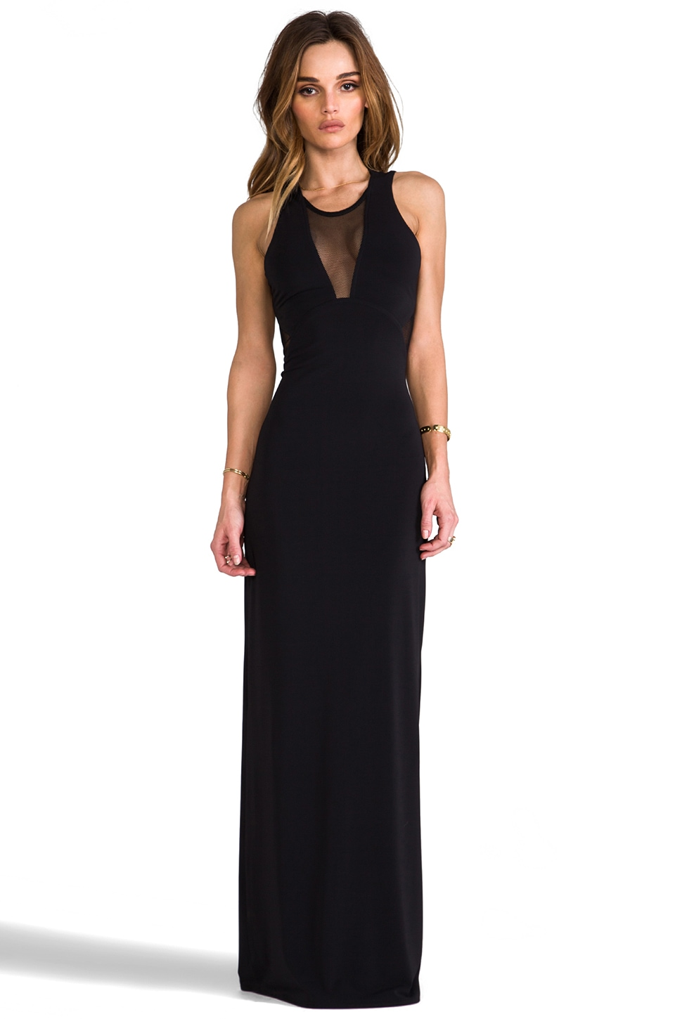 Cut25 by Yigal Azrouel Mesh Insert Gown in Jet
