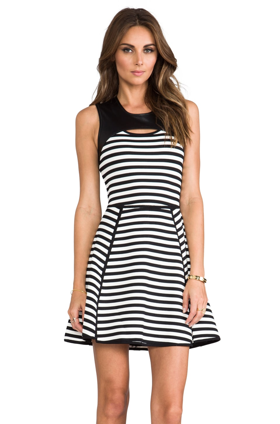 Cut25 by Yigal Azrouel Bold Stripe Techno Dress in Jet Multi