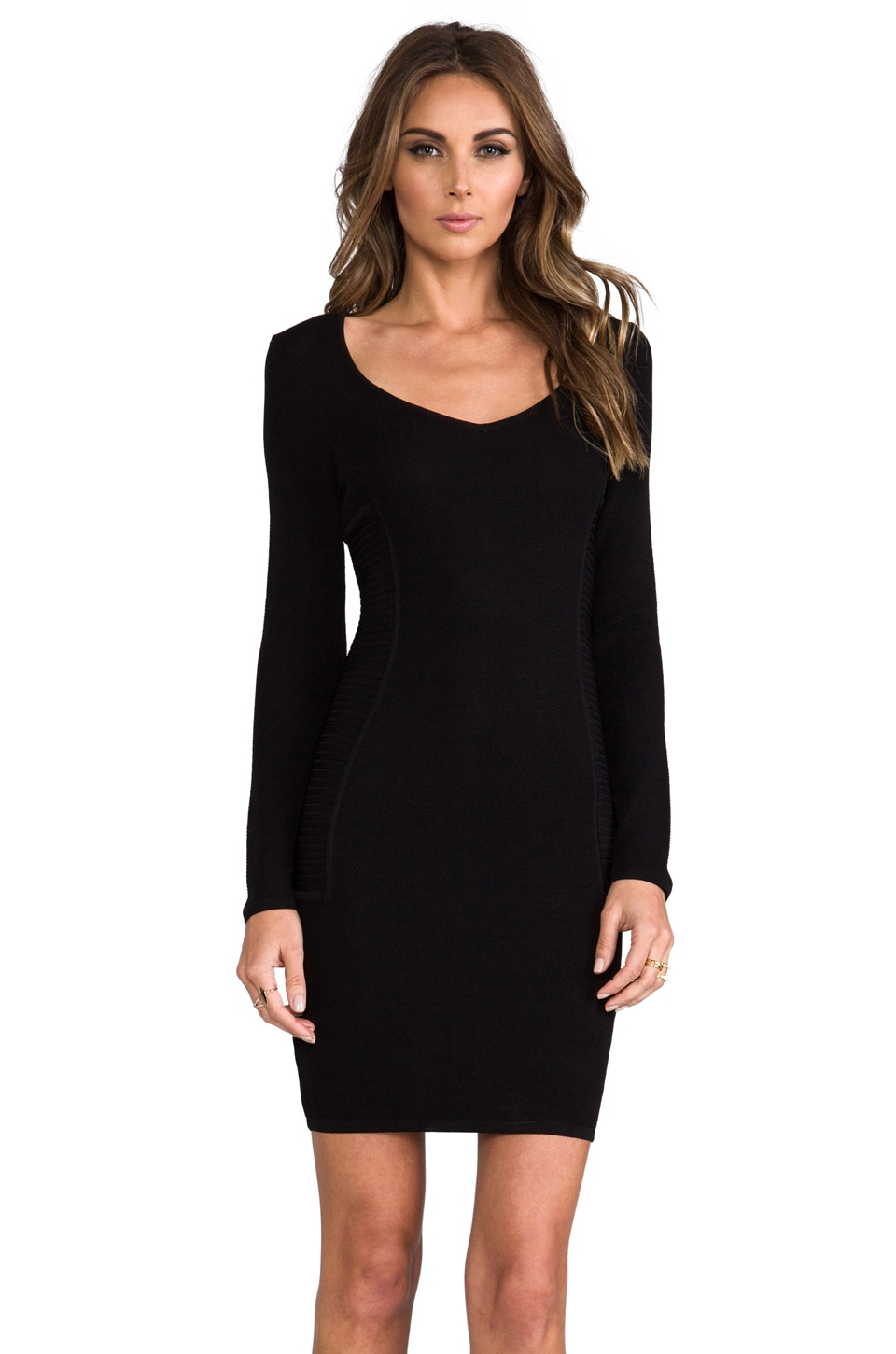 Cut25 by Yigal Azrouel Long Sleeve Techno Dress in Jet