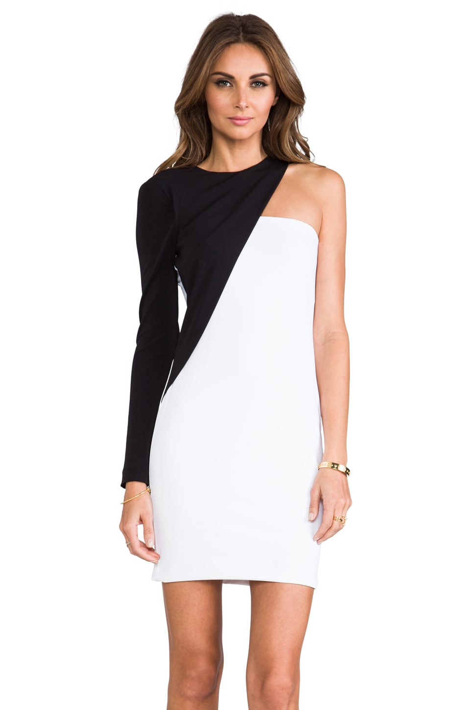 Cut25 by Yigal Azrouel One Shoulder Colorblocked Dress in Jet/Optic