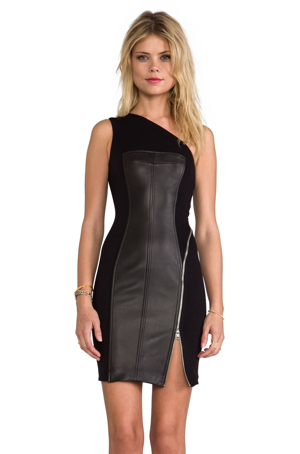 Cut25 by Yigal Azrouel One Shoulder Leather Combo Dress in Jet