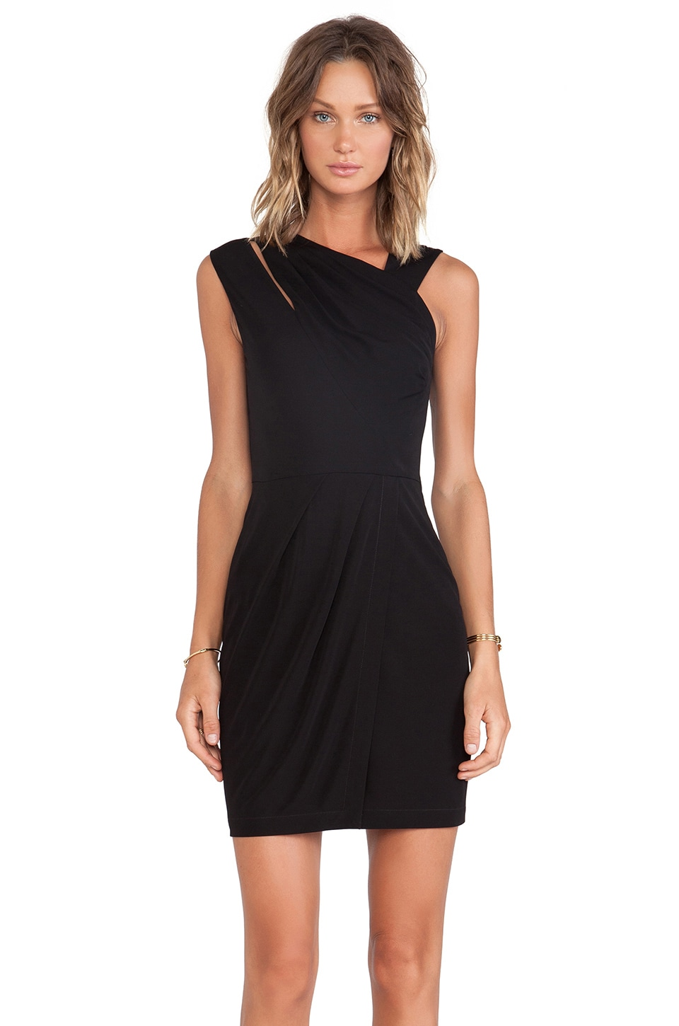 Cut25 by Yigal Azrouel Ruched Matte Jersey Dress in Jet