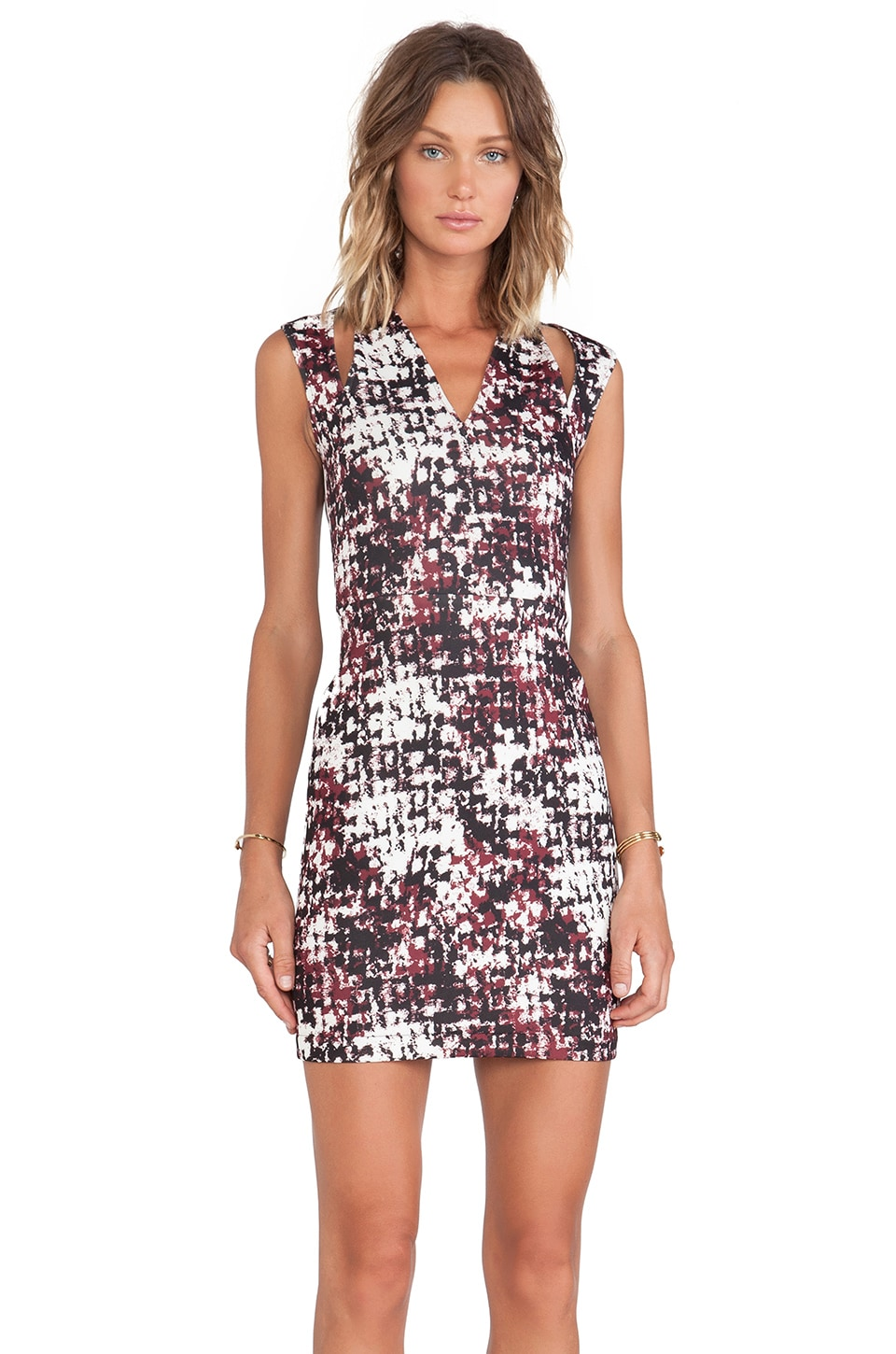 Cut25 by Yigal Azrouel Cutout Shoulder Printed Scuba Dress in Port Multi