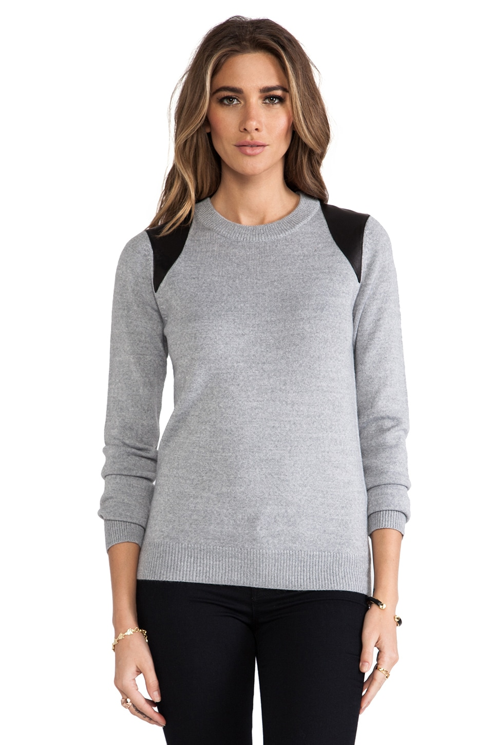 Cut25 by Yigal Azrouel Leather Printed Paneled Crewneck Sweater in Heather Grey