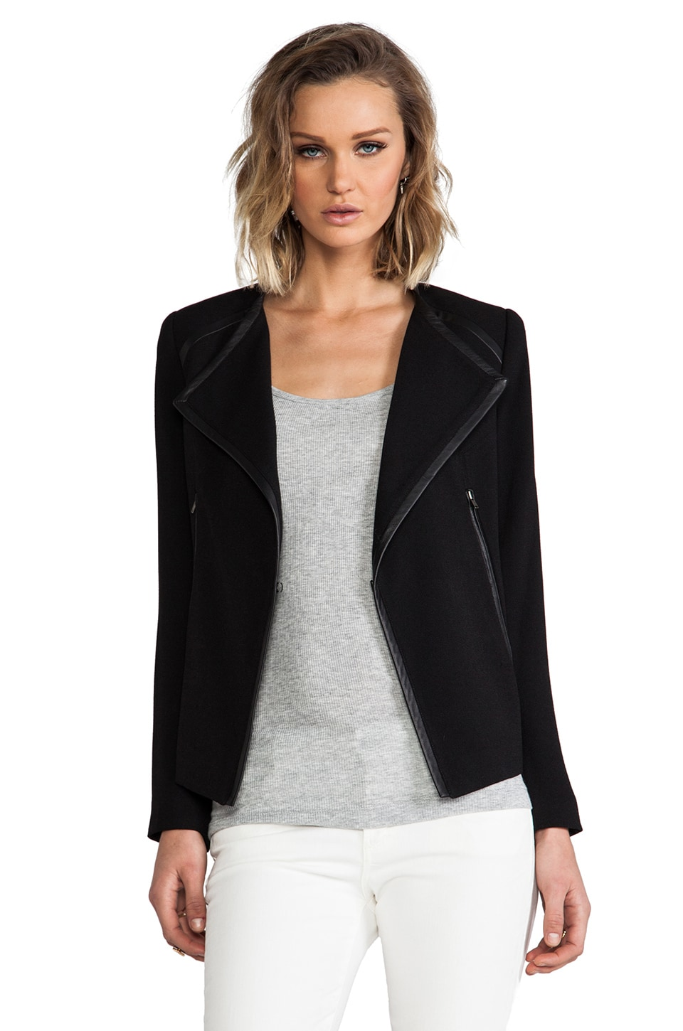 Cut25 by Yigal Azrouel Leather Trim Crepe Jacket in Jet