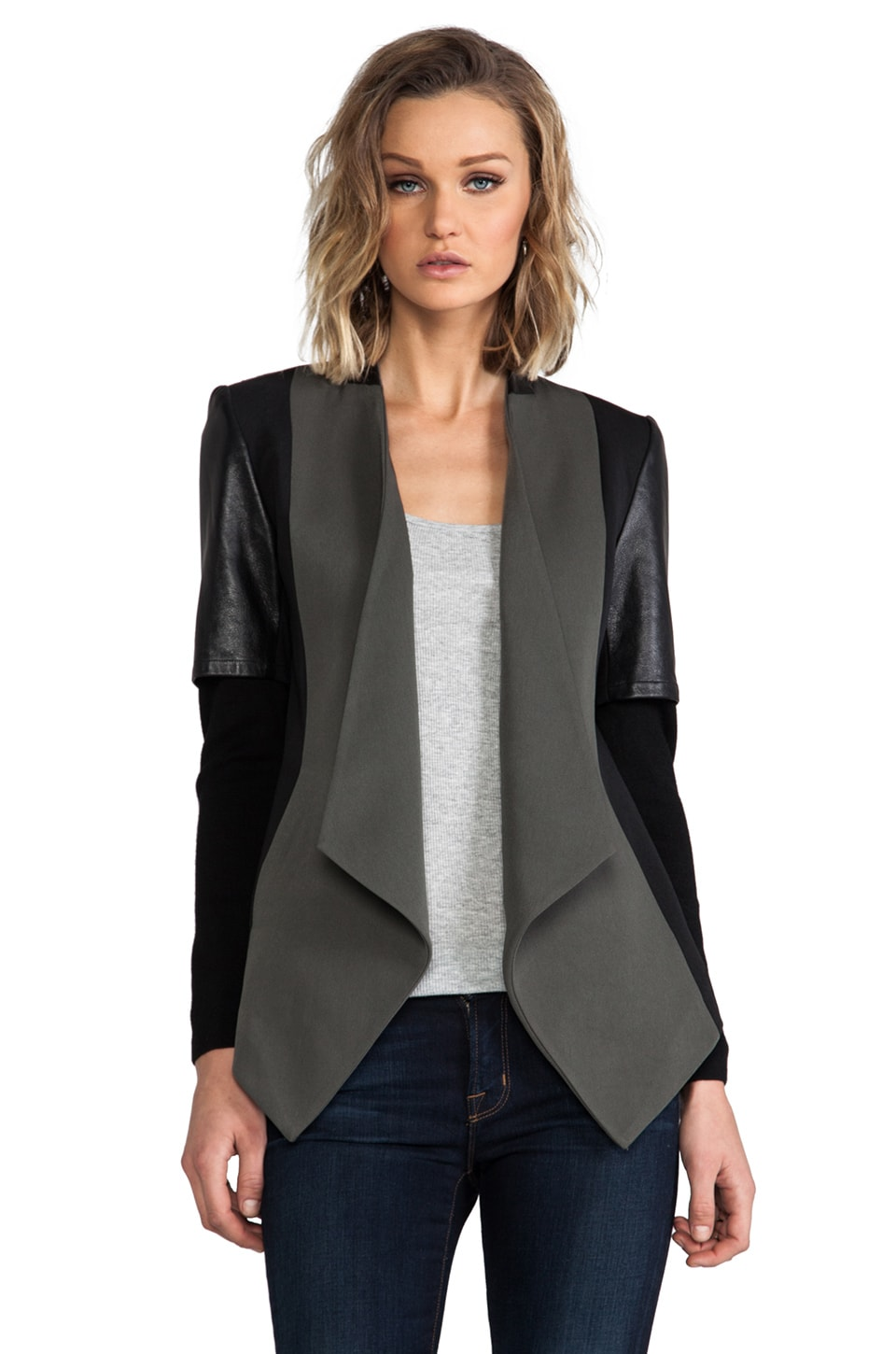 Cut25 by Yigal Azrouel Drape Front Jacket in Dark Military