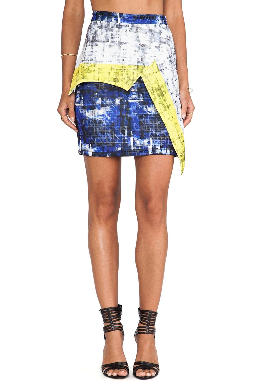 Cut25 by Yigal Azrouel Printed Scuba Skirt in Cyan Multi