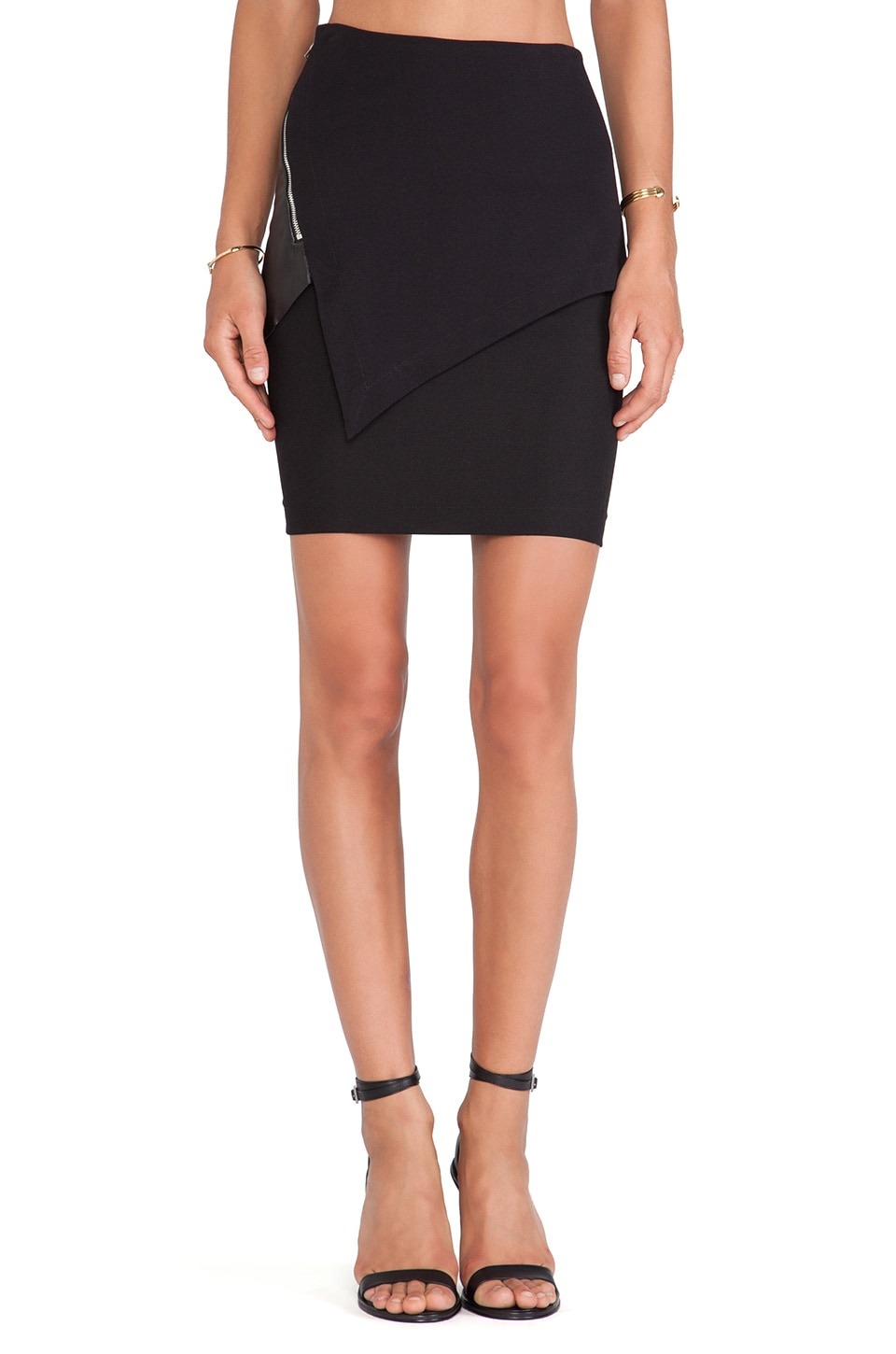 Cut25 by Yigal Azrouel Asymmetric Paneled Skirt in Jet